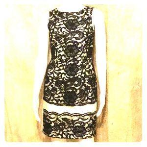Black Lace and Cream Sleeveless Dress